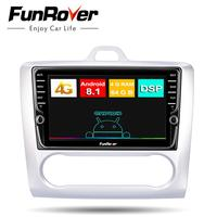 Funrover 2 din Android 8.1 Car DVD Multimedia Player GPS stereo navi For ford focus 2 2004 2011 video auto radio navigation DSP