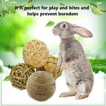 Rabbit Toy Parrot Chewing Bite Toy Set Rattan Ball Handmade Straw Corn Stems Grass Rabbit Small