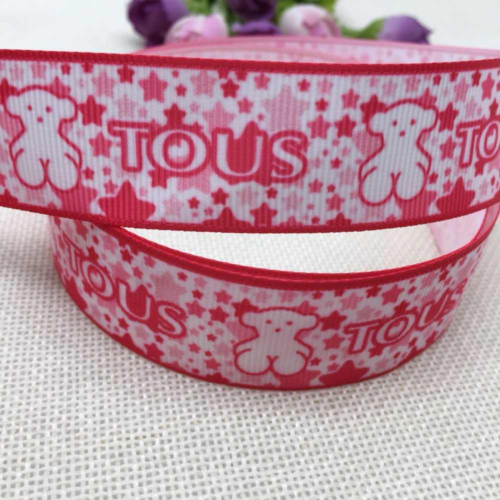 "1 ""25MM new sales 10yard red rcartoon cute cartoon bear printed ribbons DIY materials, accessory, gifts, crafts,packaging ribbon"