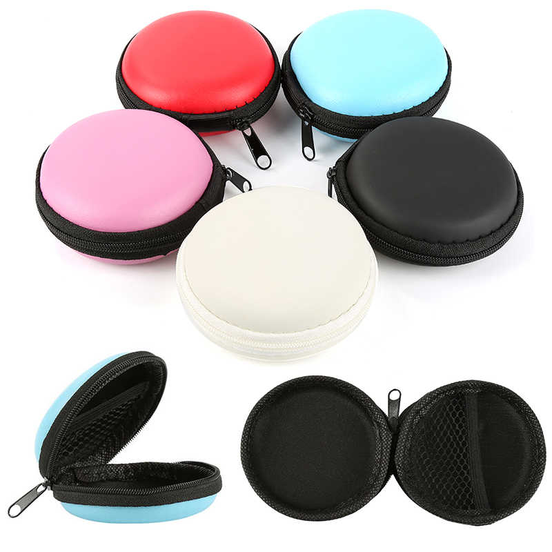Earphone Holder Case Storage Bag Mini Zipper Hard Headphone Case Portable Earbuds Memory Card Pouch Box USB Cable Organizer