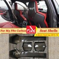 F80 M3 4 pcs Seat Shells Cover Carbon Fiber Interior Trim Back For BMW M3 F80 4 doors Hard top Sedan 420i 430i 435i 440i 2015 19