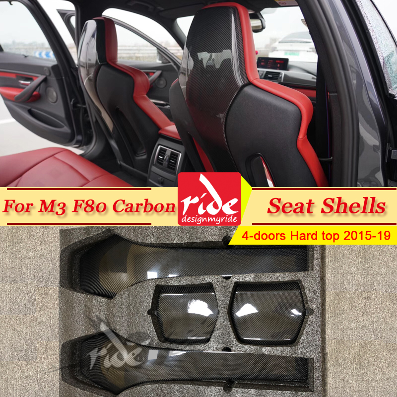 F80 M3 4-pcs Seat Shells Cover Carbon Fiber Interior Trim Back For BMW M3 F80 4-doors Hard Top Sedan 420i 430i 435i 440i 2015-19