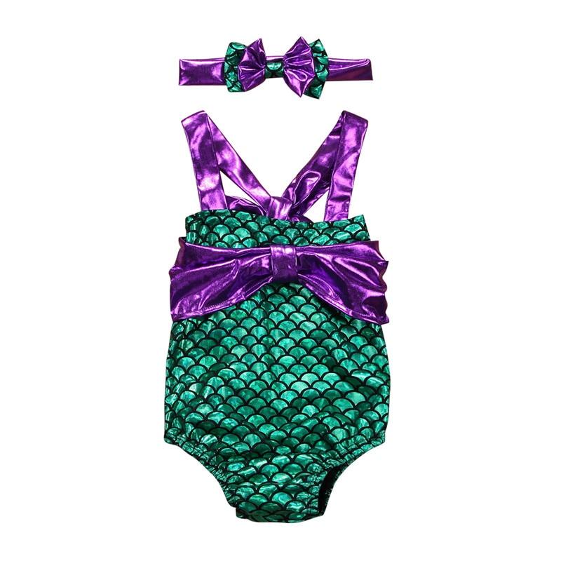 Newborn infant bikinis bowknot cute baby girls 0-24M halter swimsuits headband 2019 summer green maillot de bain Swimming Hot