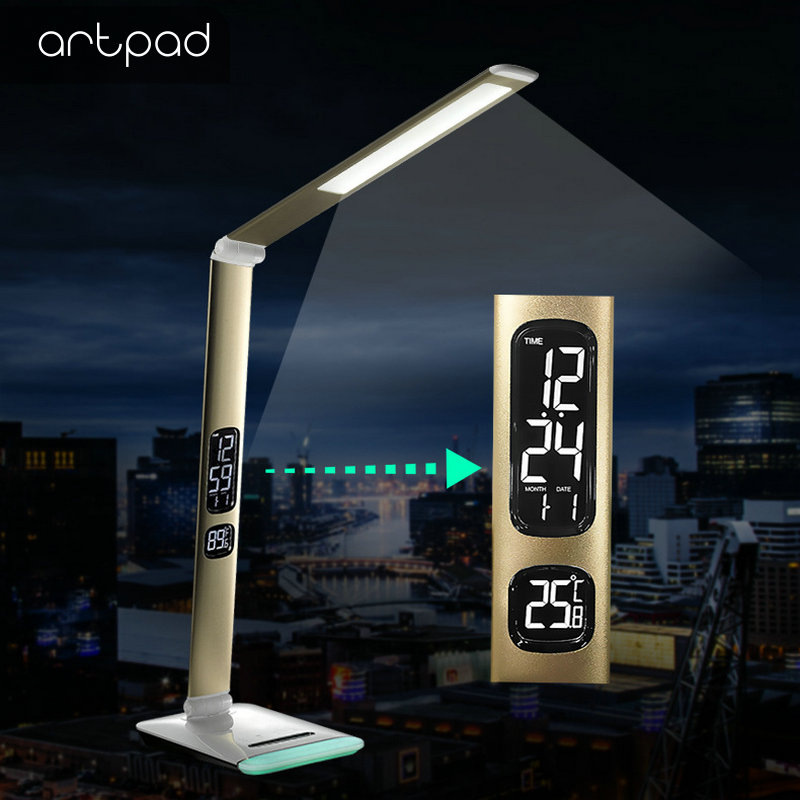 ArtPad New Business Dimmable Office Work Table Lamp LED Foldable Desktop Lamp with RGB Base Calendar Display ArtPad New Business Dimmable Office Work Table Lamp LED Foldable Desktop Lamp with RGB Base Calendar Display