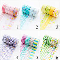 4pcs/lot Geometry Washi Tape Cute Stripe Decorative Adhesive Masking Tapes For Decorations Scrapbooking Diary Diy Albums Tapes