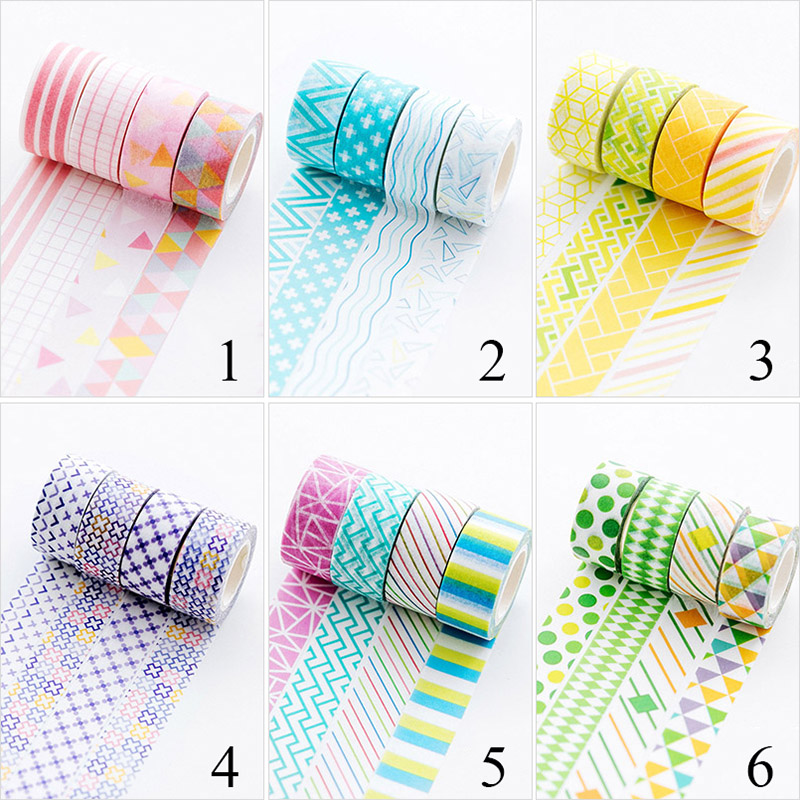 4pcs/lot Geometry Washi Tape Cute Stripe Decorative Adhesive Masking Tapes For Decorations Scrapbook Diary DIY Photo Album Tapes