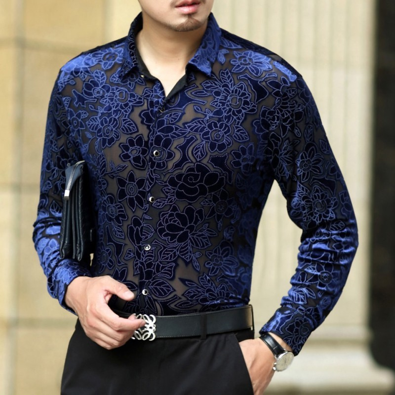 2018 New Sexy Lace Shirt For Male Floral Print Shirt Men Transparent Shirt See Through Mesh Shirt Club Party Prom Chemise Homme