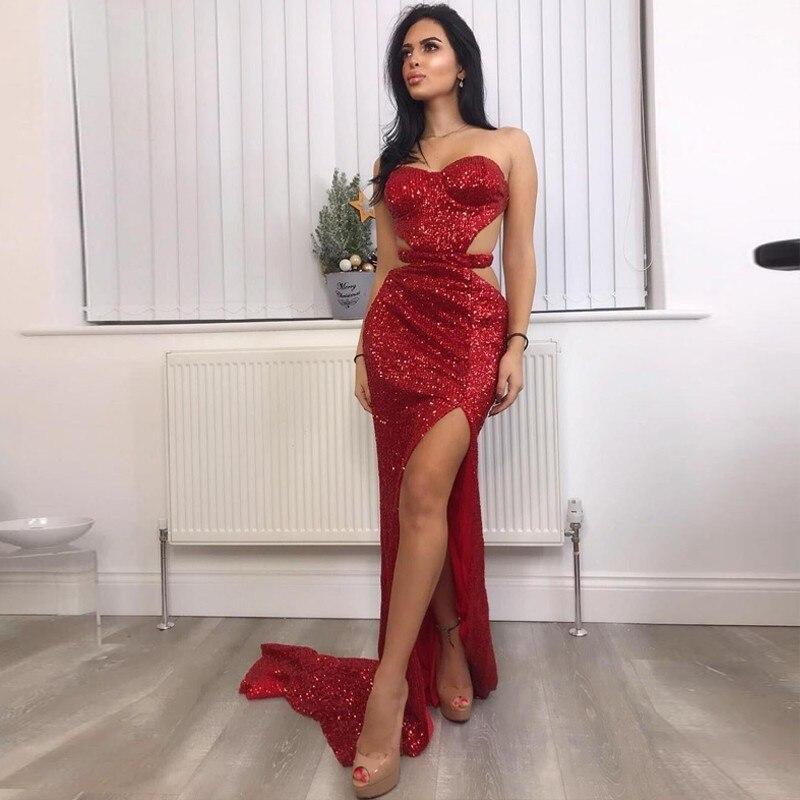 Slaygirl épaule dénudée longue robe moulante Maxi robe de soirée femmes argent pailleté solide vestidos haute fendue Sexy robe rouge