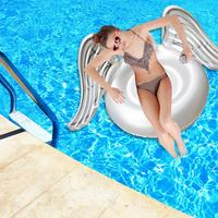 Inflatable Swimming Circle Giant Pool Float Island Air Mattress Water Sports Toy Lifebuoy Flamingo Swan Inflatable Floating Row