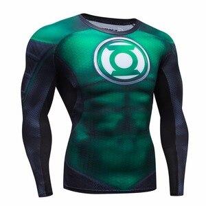 Image 1 - 2016 jesienno zimowa koszulka kompresyjna oddychająca siatka Fitness odzież marki dla mężczyzn Quick Dry 3d Men Crossfit S 2xl