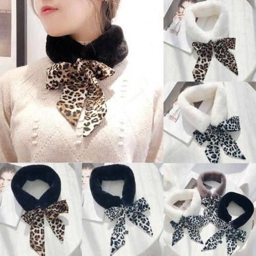 Mode Leopard Frauen Faux Pelz Schals Plüsch Kragen Wrap Fliege Hals Wärmer Winter Damen Formale Partei Schals Neue Großhandel
