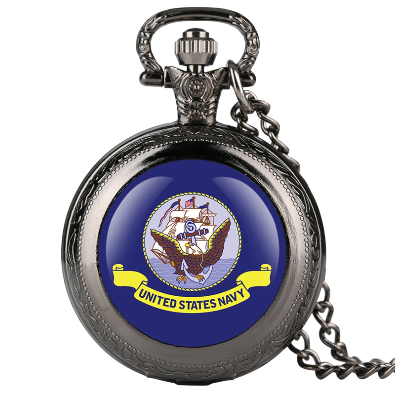 Eagle Purple Pattern Dial United States Navy Quartz Pocket Watch Creative Necklace Pendant For Men Women Fob Clock Jewelry Watch