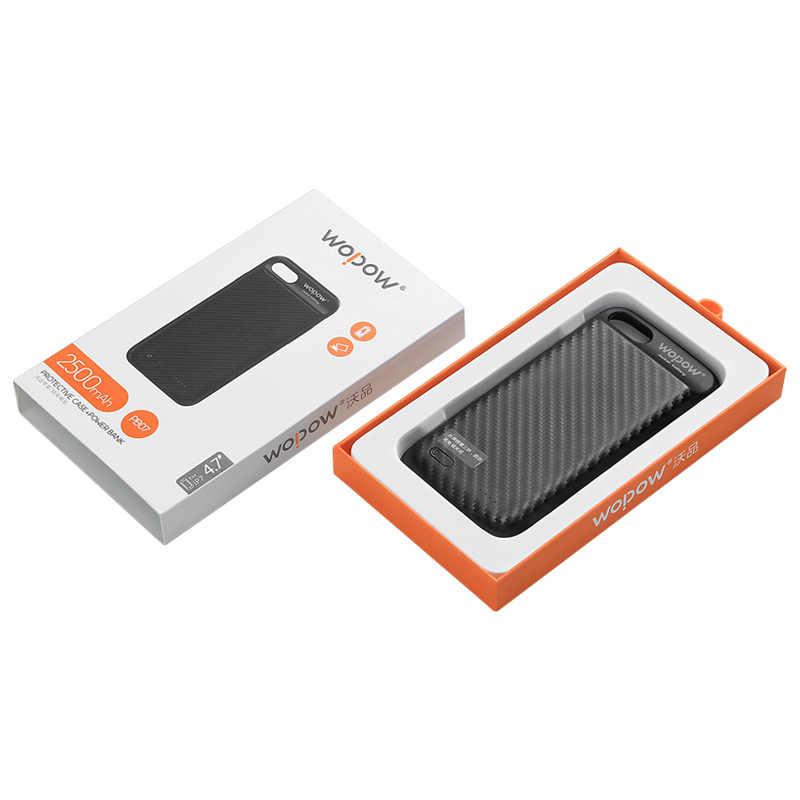 WOPOW 3650 mAh/2500 mAh caja de alimentación de la batería del Clip trasero para iphone 6 6p 7 7 p caja externa del cargador de la batería cubierta de respaldo con magnético