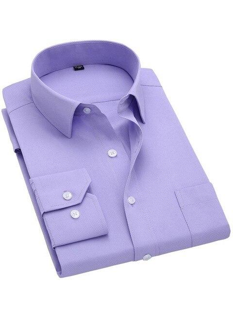 Camisa de Manga longa para Homens Primavera Outono Designer de Moda de Alta Qualidade Sólida Não Ferro Slim Fit Social de Negócios Camisas Formais