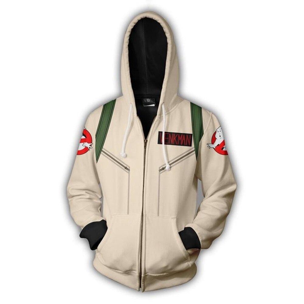 2019 Hooded Ghostbusters Zip Up Hoodie 3D Printed Hoodies Casual Zipper Hoodie Hooded Ghostbusters Cosplay Zip Up Hoodie
