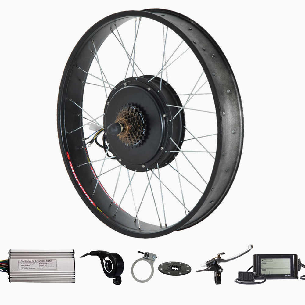 "26"" x 4.0 Fat tire electric bike kit 72v 2000w Electric Fat tire snow Bike Rear Wheel Hub Motor Kit"