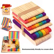 50pcs Colored Wood Craft Sticks Wooden Ice Cream Kids DIY Hand Crafts Lolly Cake Tools YJS Dropship