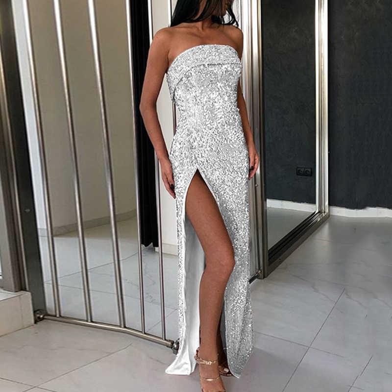 Женское сексуальное длинное платье с разрезом без рукавов блестящее платье с блестками коктейльное платье для выпускного вечера