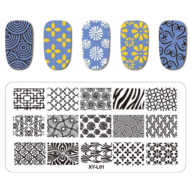Kimcci ногтей штамповка плиты DIY изображения Маникюр пластиковые шаблоны Трафареты салон Красота польский инструменты 12*6 см XY-L серии