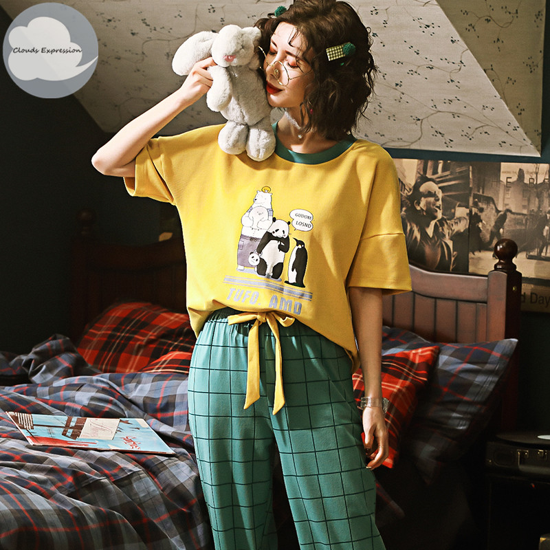 Summer Knitted Cotton Women's   Pajama     Set   Nightgowns Suits Pants Women's Cartoon   Pajama     Sets   Mujer Sleepwear Lounge Home Clothing