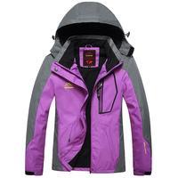 Women Casual Patchwork Mountain Waterproof Ski Jacket Hooded All Seasons Outdoor Windproof Coat Pocket Regular