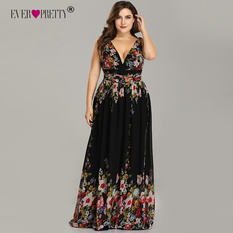 Plus Size   Prom     Dresses   Long 2019 Ever Pretty Elegant Printed A-line V-neck Chiffon Sleeveless Party   Dresses   Robe De Soire