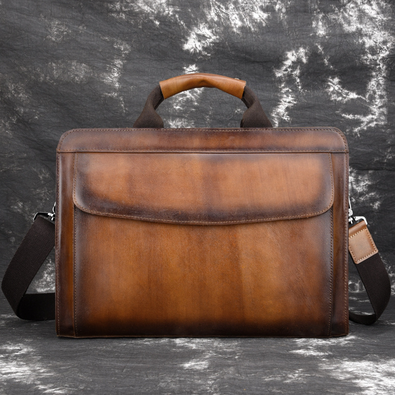 European And American Genuine Leather Men's Bag Retro Men Leather Handbags Vintage Cow Leather Business Briefcase
