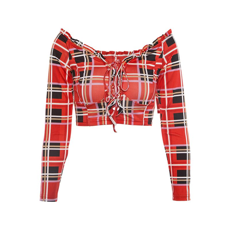 Women Tshirts Sexy Sweet Casual Gothic Red Club Travel Office Lady Slim Off Shoulder Plaid Summer Female Fashion Goth Chic Tops