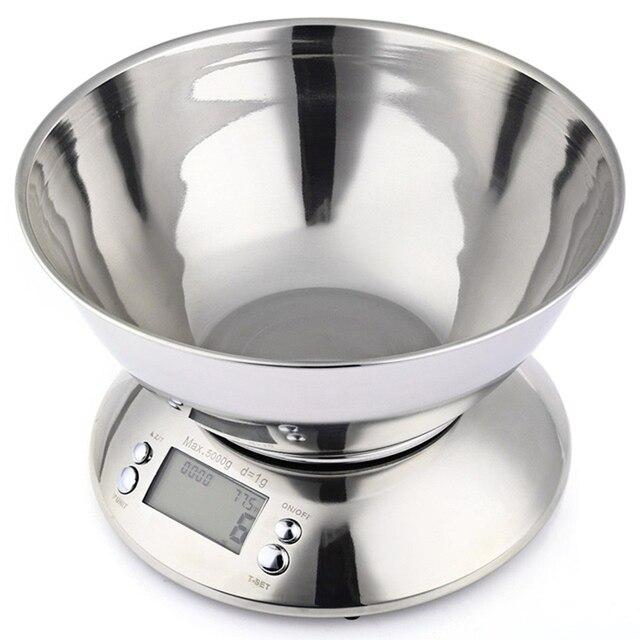Balance de Cuisine en acier inoxydable 5 kg/1g Balance électronique Cuisine Balance alimentaire Cuisine Balance numérique de précision avec bol outil de cuisson
