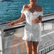 Summer White Bodycon Dress Women Short Sleeve Sexy Dress Feminino Ruffle Lace up Mini Dress Vestidos недорого