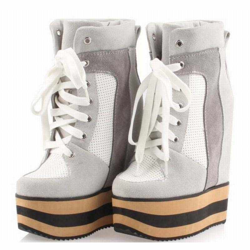 0774ee86c30 platform women hidden wedges high heels lace up ankle boot fashion cut-outs  breathable casual
