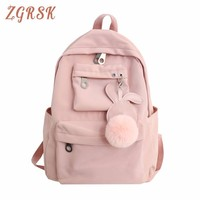 Nylon Fashion Women Letter Lock Tassel Vintage Casual Clear Youth Sports Backpack Cute Backpacks For Girls Travel School Bags