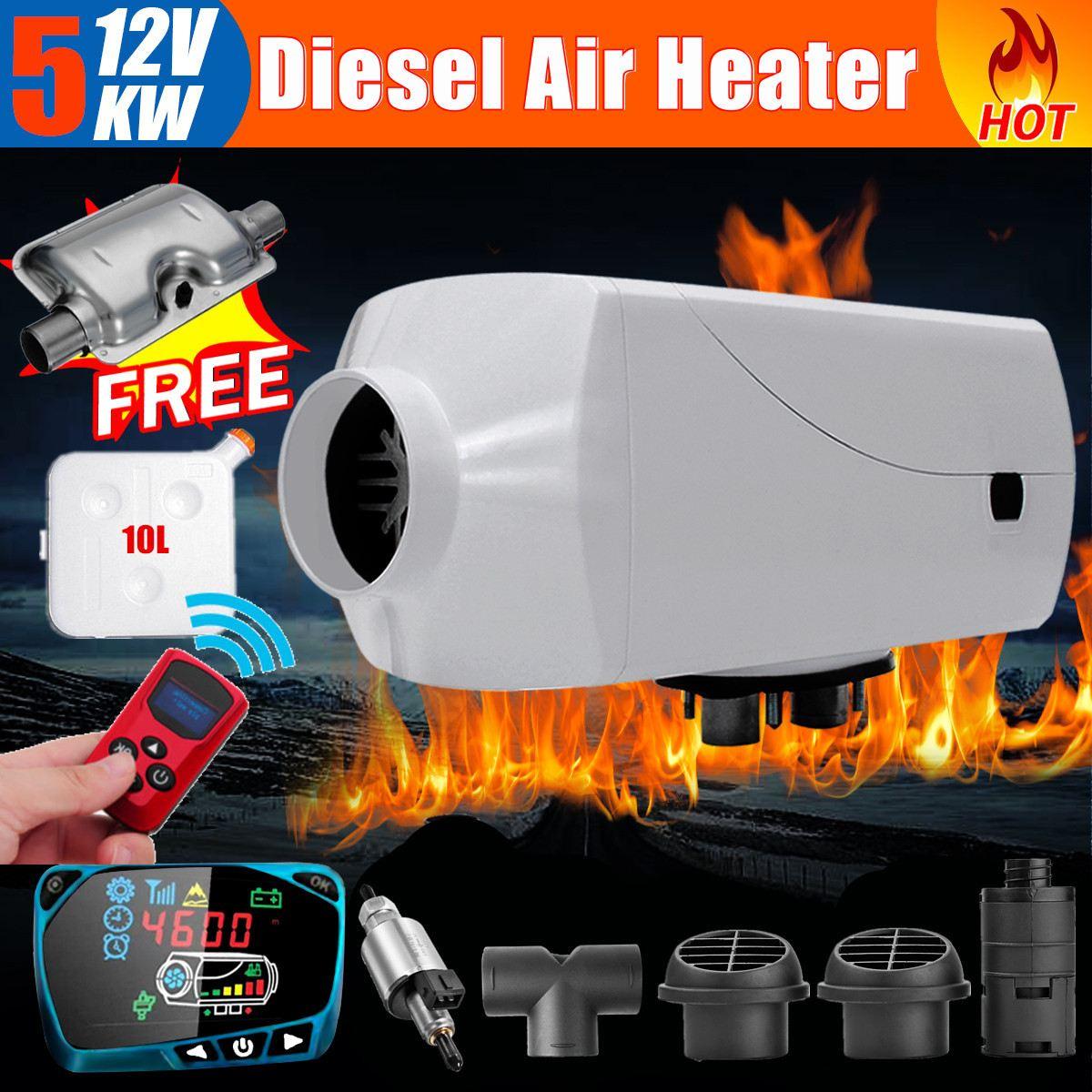5KW 12 V Air voiture chauffage Intelligent LCD interrupteur + contrôle de température + silencieux hiver plus chaud pour SUV Bus camion bateau Van camping-Car