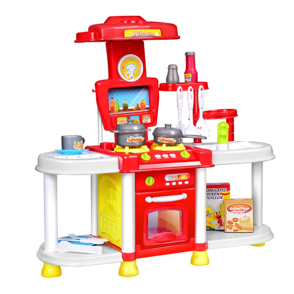 Simulate Kids Kitchen Toy Set with Light & Sound Play-House Tableware Gift Ornament Girl Cooking Utensils Kitchenware Toys