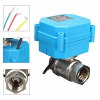 2 Way 3 Wire Blue Stainless Steel 1/2 Electric Motorized Ball Valve DC12V DN15 0 100 degrees Energy saving for Petrochemical