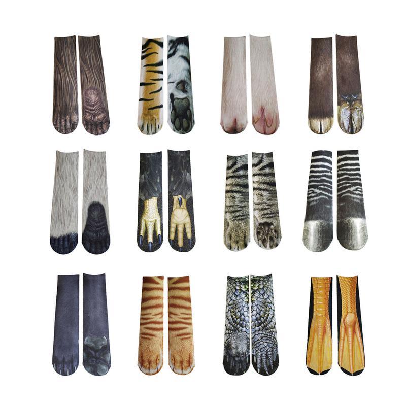 2018 new 3D Print Animal Foot Hoof Paw Feet Crew   Socks   Adult Digital Simulation   Socks   Unisex Tiger Dog Cat   Sock