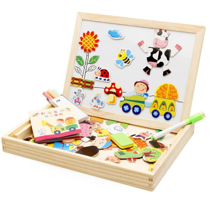 Portable Cartoon Kid Magnetism Jigsaw Drawing Board Puzzl Set Animals Farm Drawing Board Box Educational Toy Gift For  Children