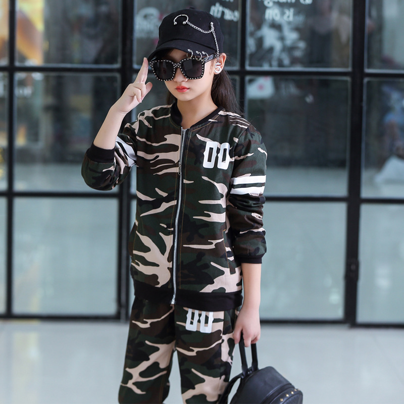 Image 2 - Childrens Suit Spring and Autumn Clothing Boys and Girls Sports Fashion Baseball Collar New Big Childrens Camouflage ClothingClothing Sets   -