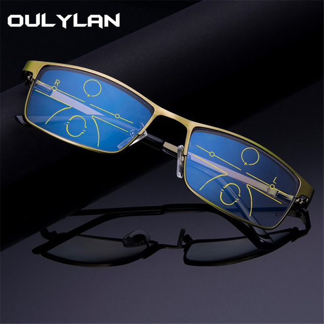 Oulylan Progressive Multifocal Reading Glasses Men Anti Blue Light Alloy Near Far Sight Spectacles Hyperopia Diopter +1.0 1.5
