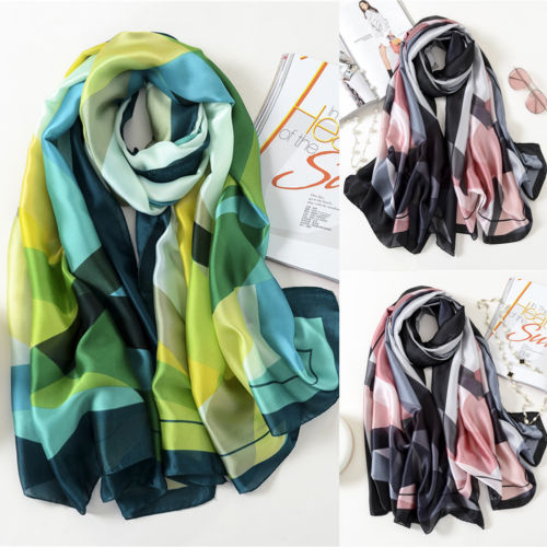 Womens Print Satin-Silk Rectangle   Scarf     Wrap   Lady Shawl Beach   Scarves   Stole