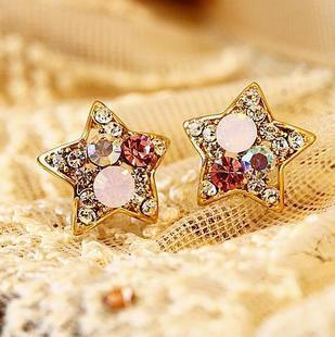 Korean Popular Hollow Out Five-pointed Star Flower Nail Earring Gold Earrings For Women Christmas Party Jewelry