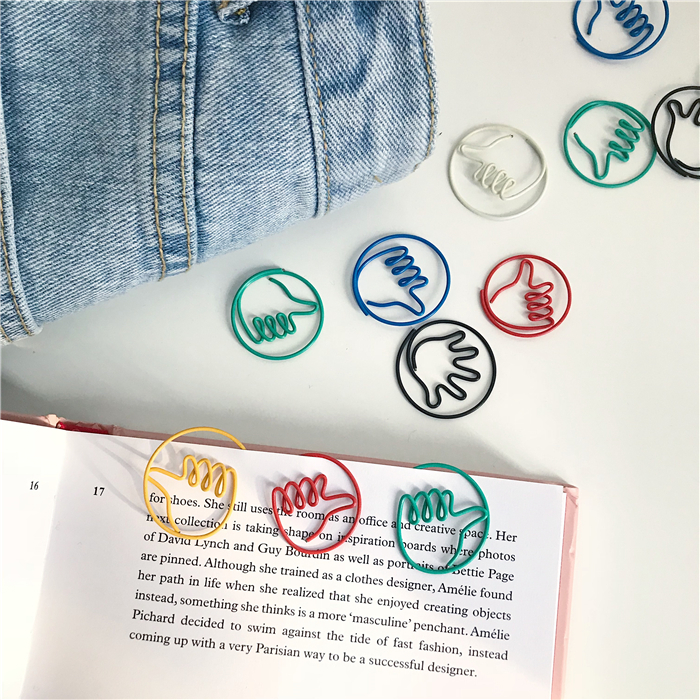 SIXONE 10 Parts / Los Originality Lovely Thumb Modeling Metal Colour Paper Clip Note Mix Photo Decoration Student Stationery