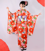 Japan kimono evening dress traditional Geisha cosplay Costume Female floral cos suits National Kimono outwear With Obi D9009