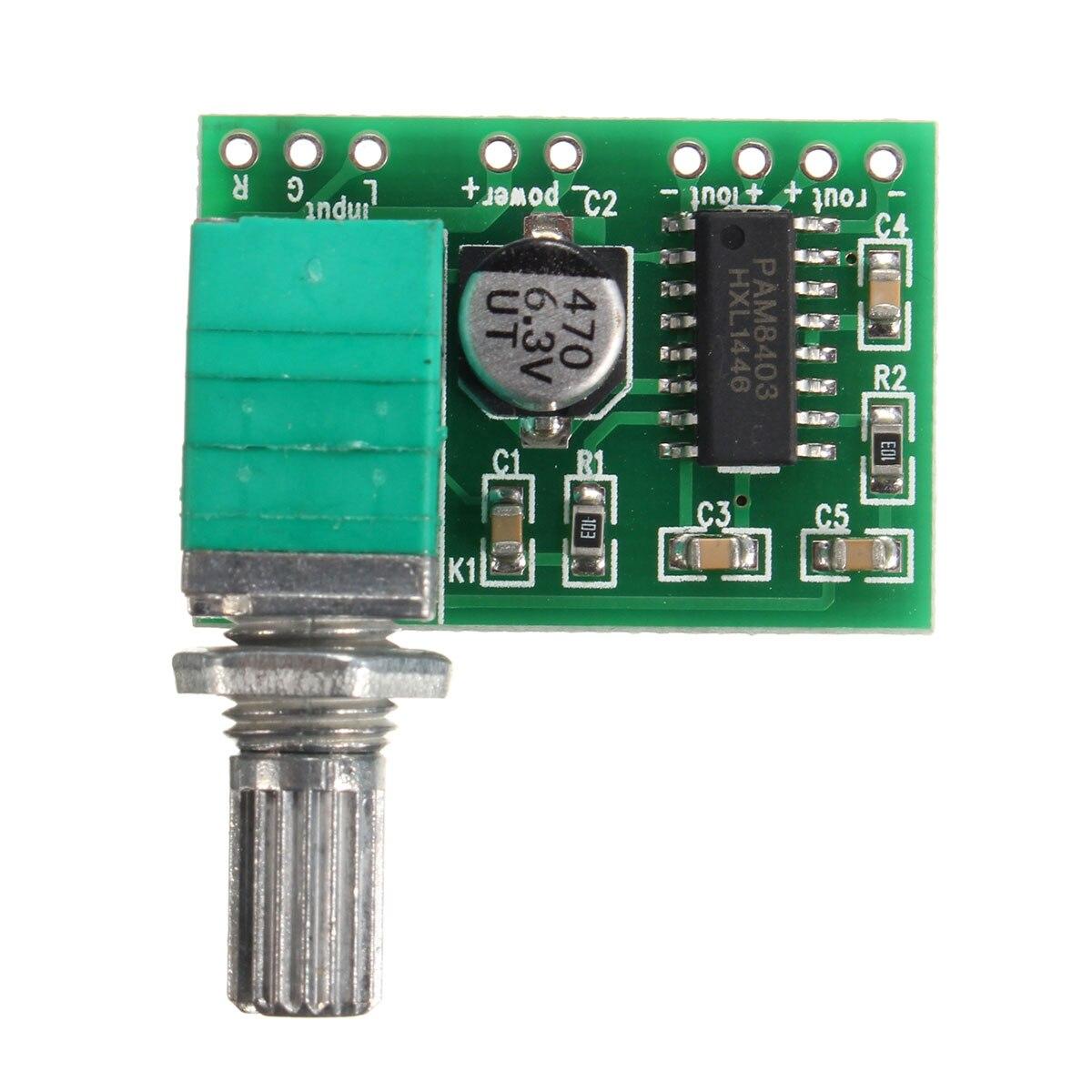 LEORY 2.5V-5.5V PAM8403 2 Channel USB Power Audio Digital Amplifier Module Board Efficient 3Wx2 Volume Control