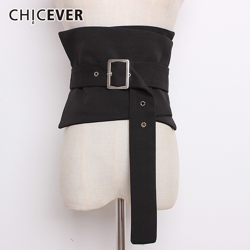 CHICEVER Patchwork Plaid Wide Waistband For Women Belts Adjustable Bandage High Waist Belt Corset Female Clothes Accessories New