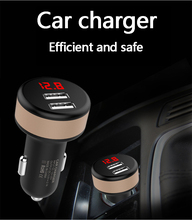 Dual USB Car Charger Adapter Mobile Phone Chargers 5V 2.1A Digital LED Voltage/Current Display Auto Vehicle Metal