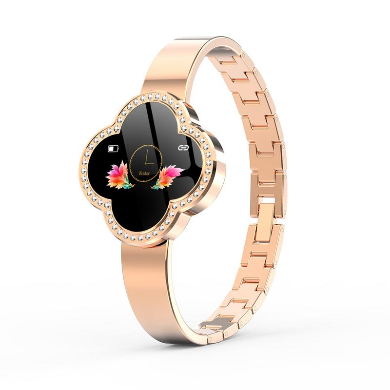 Femmes Bracelet intelligent à quatre feuilles trèfle cadran bijoux Bracelet sport Bracelet Bluetooth montres en alliage de Zinc coquille en acier sangle