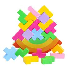 None Kids Wooden Rainbow Colors Balancing Blocks Puzzle Toys