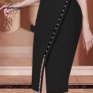 Image 5 - Женское асимметричное платье средней длины, повседневное однотонное платье с разрезом, украшенное бусинами, на пуговицах, для офиса и вечеринок, 2020