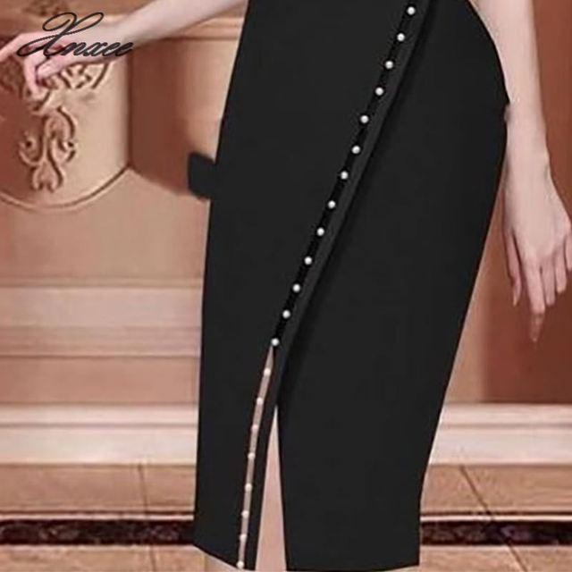 2019 Women Elegant Casual Office Look Workwear Slit Party Dress Solid Button Beading Embellished Slit Irregular Midi Dress